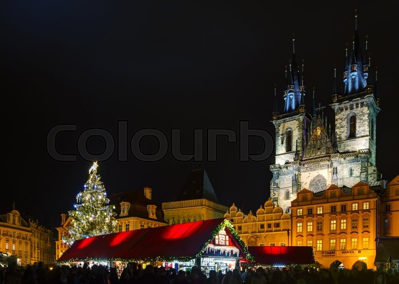 PRAGUE - DECEMBER 2: Decorated for Christmas Old Town Square on December 2, 2015 in Prague, Czech Republic. Prague has been a political, cultural, and economic centre during its 1,100-year existence, stock photo