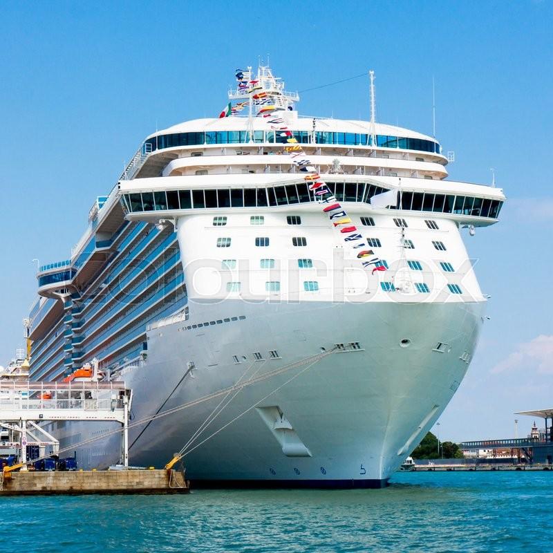 Cruise Ship. The passenger ship in port. Cruise ship anchored, stock photo