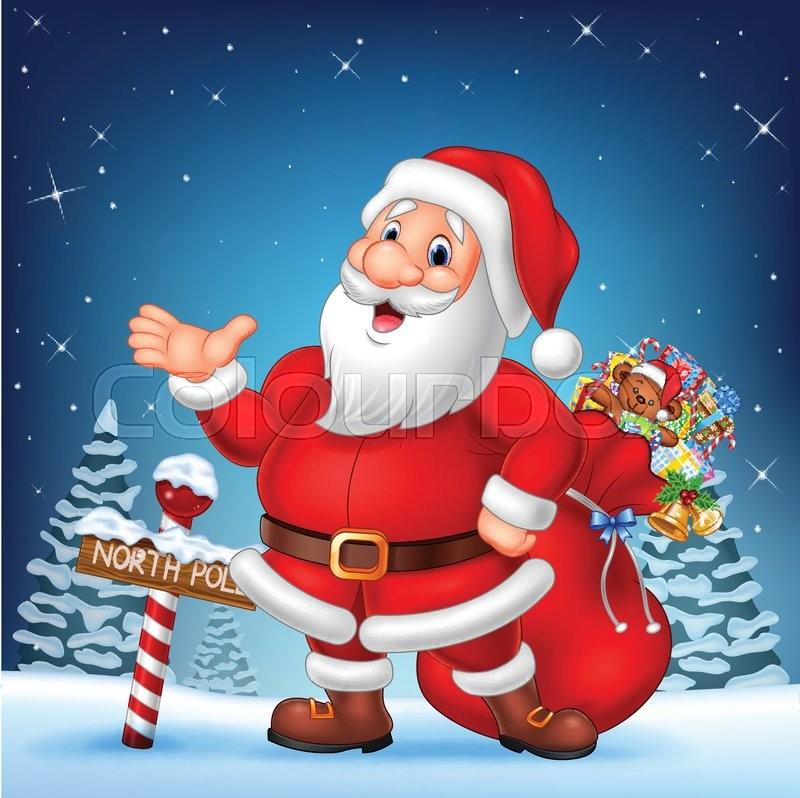 stock vector of vector illustration of cartoon funny santa presenting with a north pole wooden - Santa At The North Pole