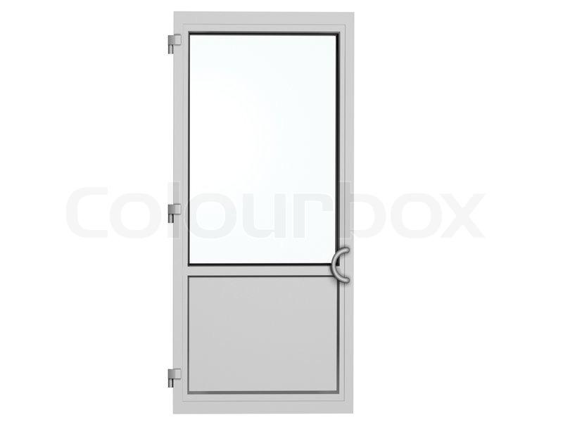 Kunststoff tür  Einem Rahmen aus Metall -Kunststoff- Tür isoliert auf weiß ...