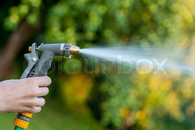 Hand holding garden hose with water spray over green