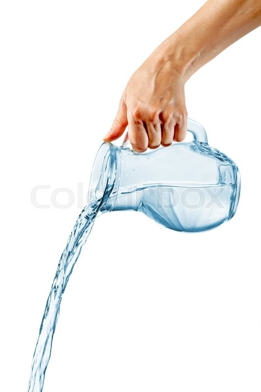 hand pouring drinking water from glass jug over white background