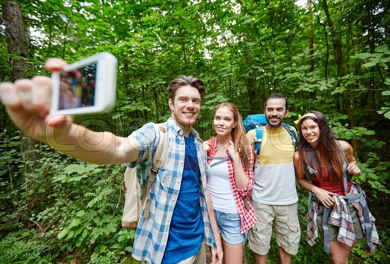 Technology, travel, tourism, hike and people concept ...