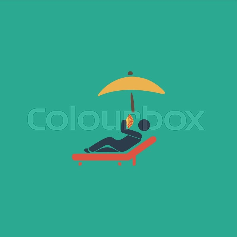 Relax Under An Umbrella On A Lounger Colorful Vector Icon Simple