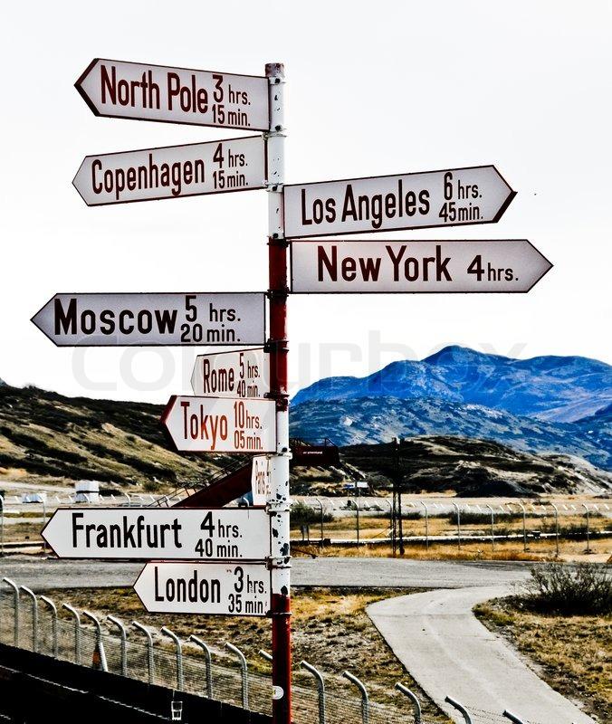 Destination sign in Kangerlussuaq International Airport ...