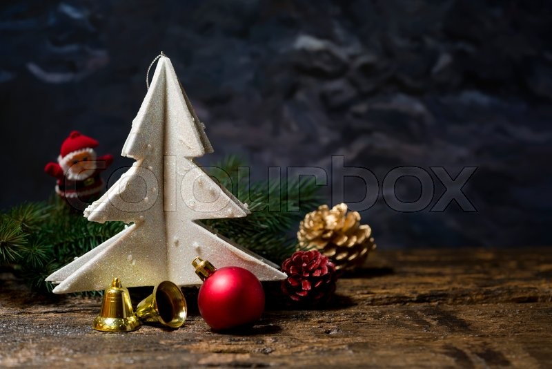 Still life of christmas ornament on wooden board, stock photo