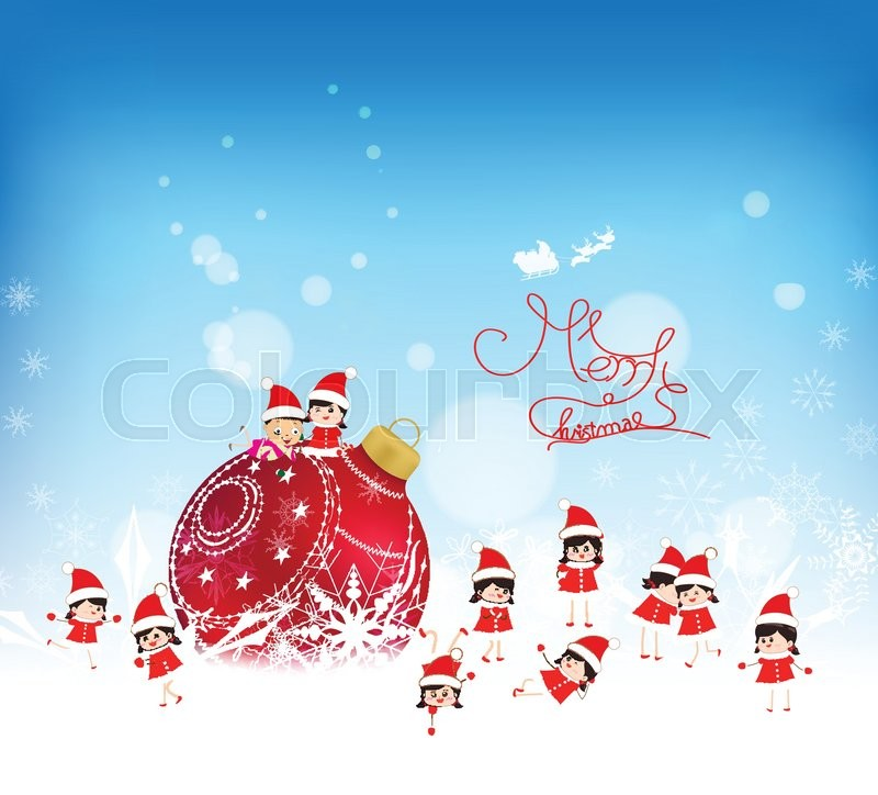 Christmas background with red bauble, kids snow and snowflakes ...