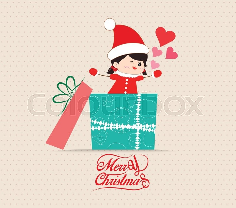 merry christmas with love kid greeting card with gift stock vector colourbox