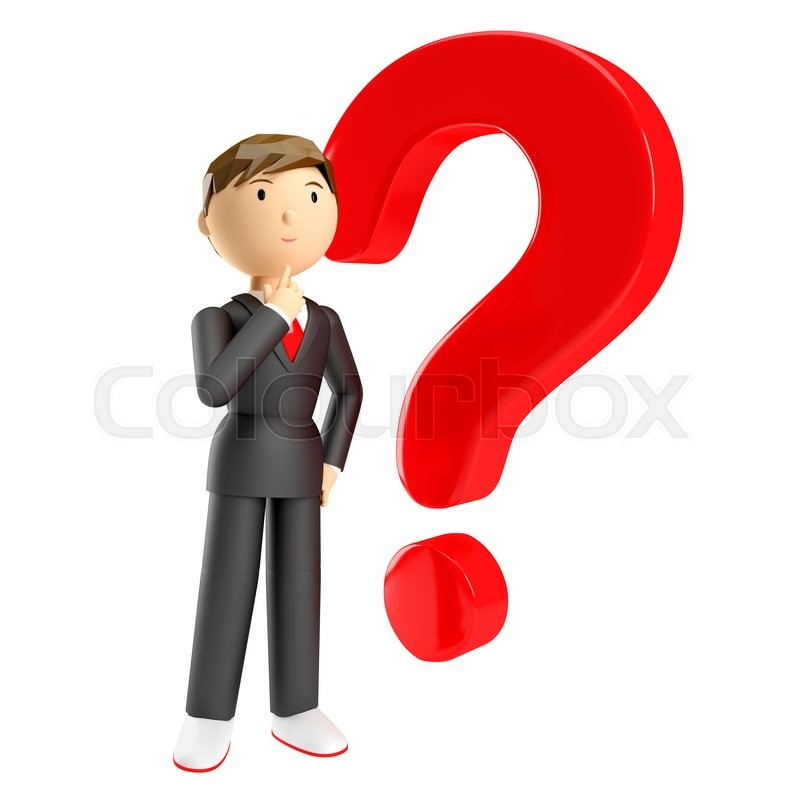 3d Render Of Man With Red Question Mark Over White