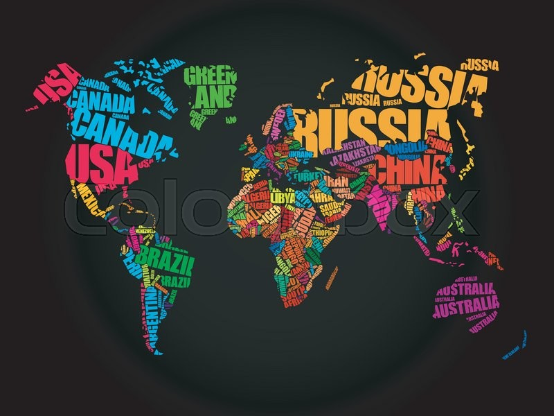 World map in typography word cloud concept names of countries world map in typography word cloud concept names of countries stock vector colourbox gumiabroncs Gallery