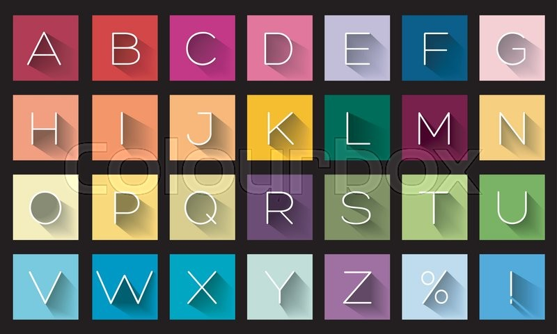 Flat Design Letters Icons Alphabet Concept Background