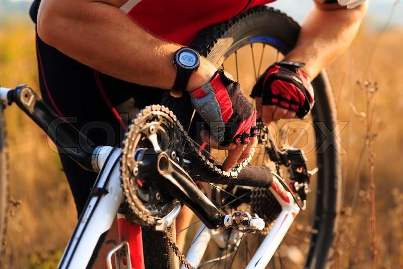 Bike Repair Young Man Repairing Mountain Bike In The Forest