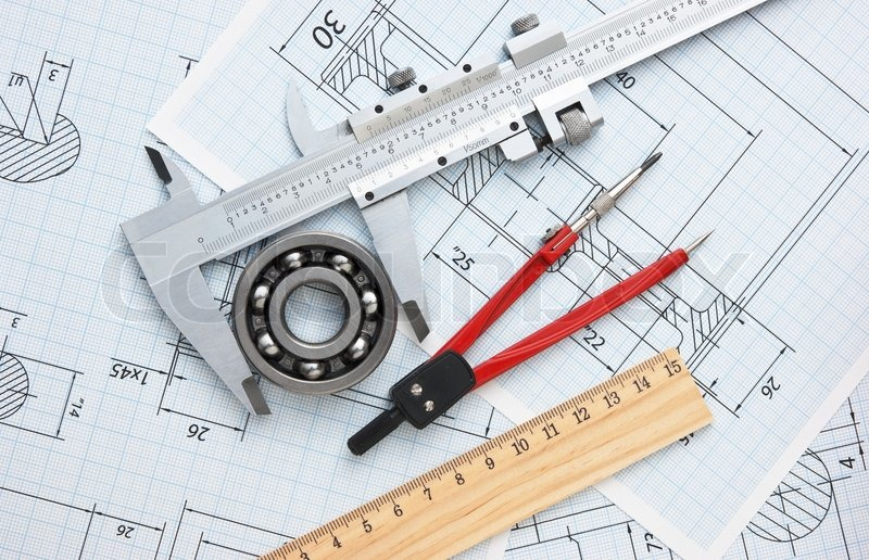 Technical drawing and tools | Stock Photo | Colourbox
