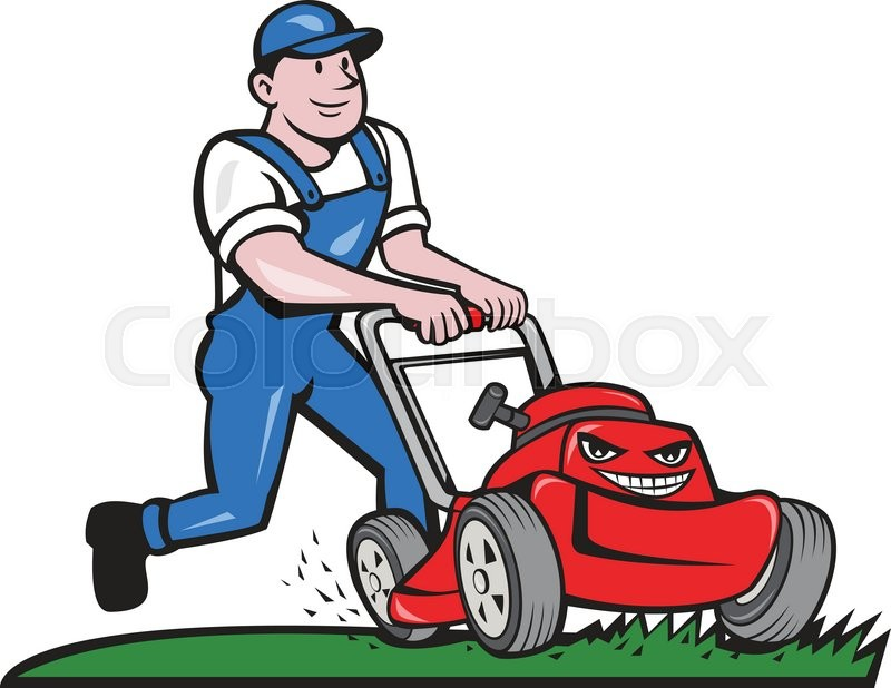 Illustration of a gardener wearing hat and overalls with for Service personne tonte pelouse