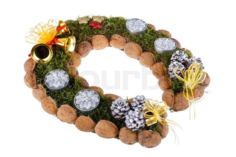 christmas wreath made of moss in the shape of a horseshoe isolated on white background stock photo - Horseshoe Christmas Wreath