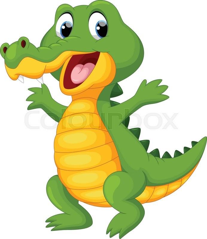 Vector Illustration Of Happy Fun Crocodile Cartoon Stock