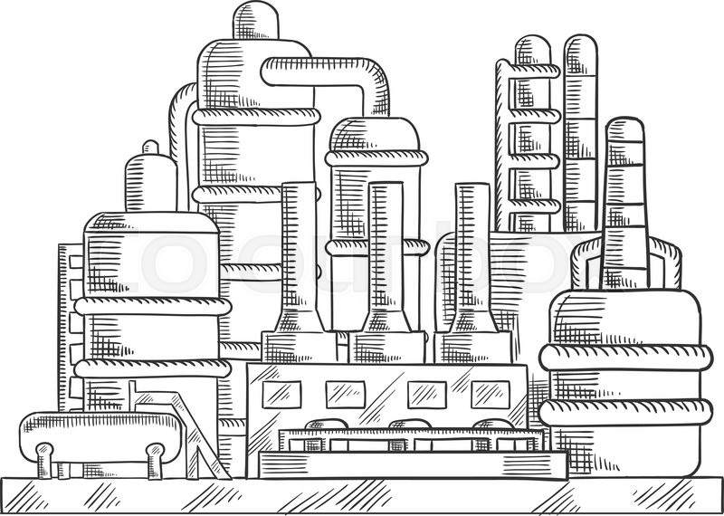 oil refinery factory sketched illustration with modern industrial plant  for processing and