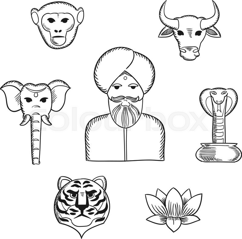 Indian Nature And National Symbols In Sketch Style With Indian Man