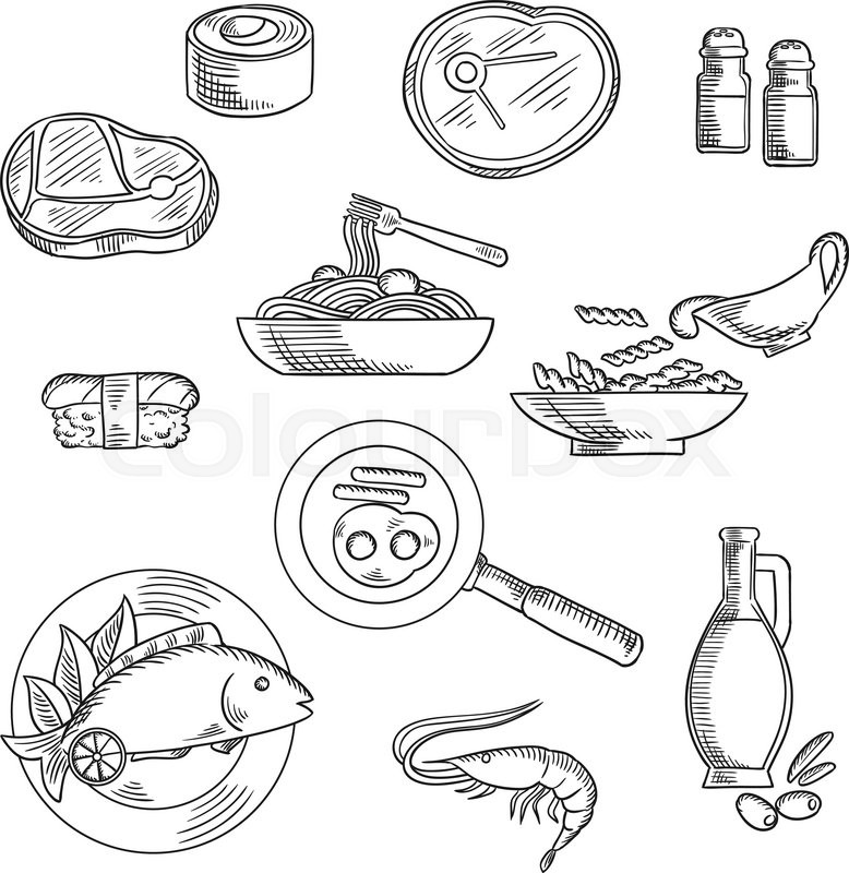 Healthy Food Sketch Icons Of Sushi Roll And Nigiri Pasta And Spaghetti With Sauce Raw Beef ...