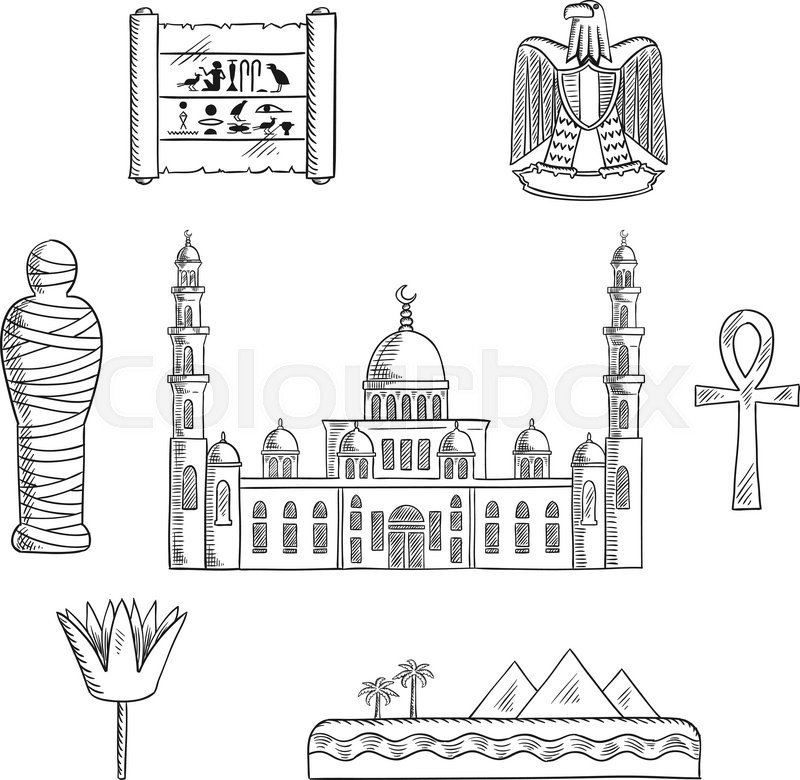 Egypt Travel Sketched Icons With Cairo Mosque Pharaoh Mummy Desert