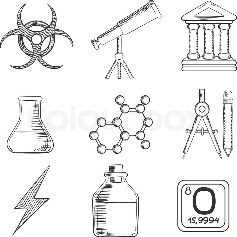 Science And Chemistry Sketches Icons And Symbols With Telescope