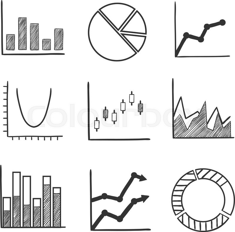business statistical charts and graphs with a pie graph