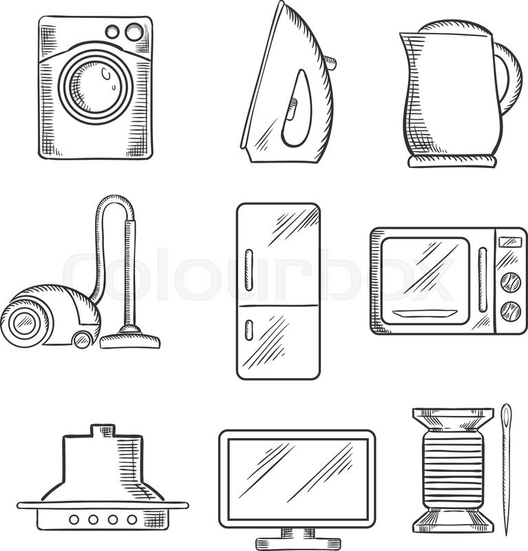 kitchen and home appliance sketched icons with vacuum