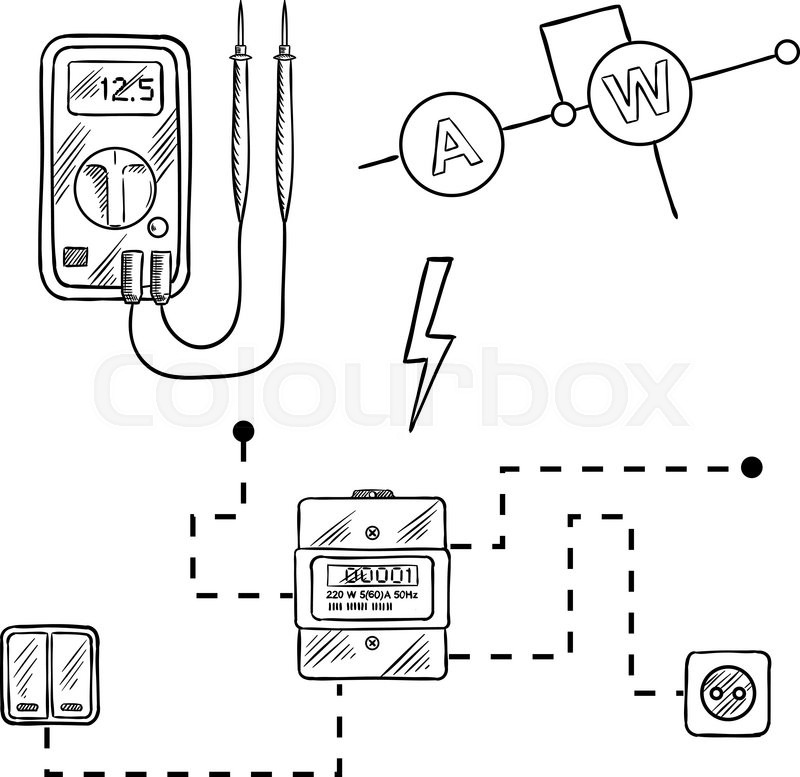 digital voltmeter electricity meter stock vector colourbox 320 Amp Meter Base Wiring digital voltmeter electricity meter with socket and switches electrical circuit diagram sketch icons for electrical supplies and diagram design vector