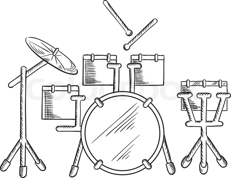 Drum Set Sketch With Traditional Kit Of Bass Two Hanging Toms Snare Floor Tom And Ride Cymbal Addition To Music Art Or Entertainment Design