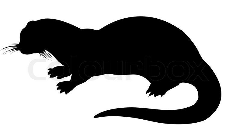 vector silhouette otter on white background stock vector