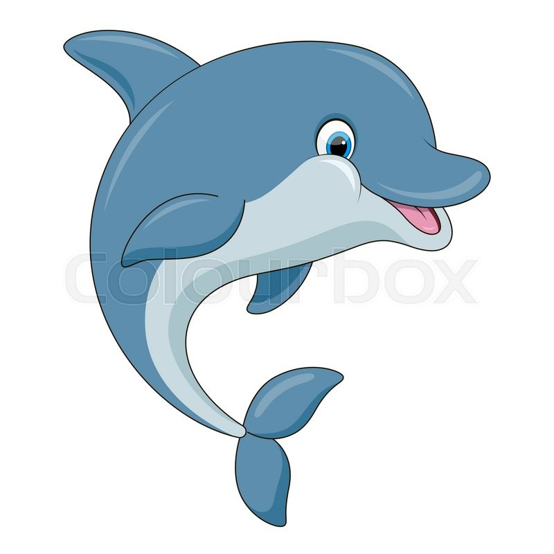 cute cartoon dolphin vector illustration with simple gradients all rh colourbox com baby dolphin cartoon images dolphin fish cartoon images