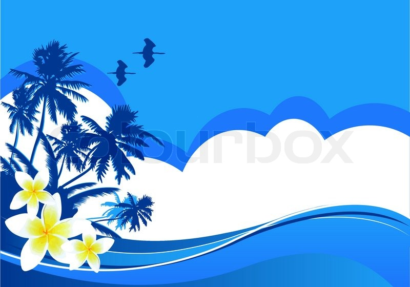 Summer Themed Beach Illustration Background With Place For