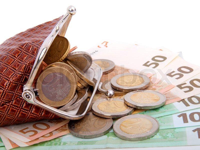 Euro penge i pungen , isoleret på hvidt   stock foto   Colourbox