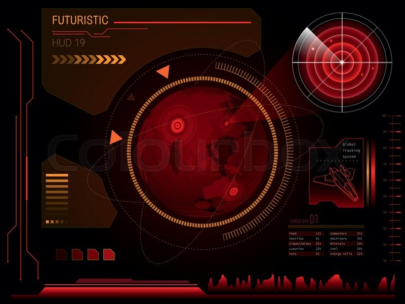 Futuristic Red Virtual Graphic Touch User Interface Hud
