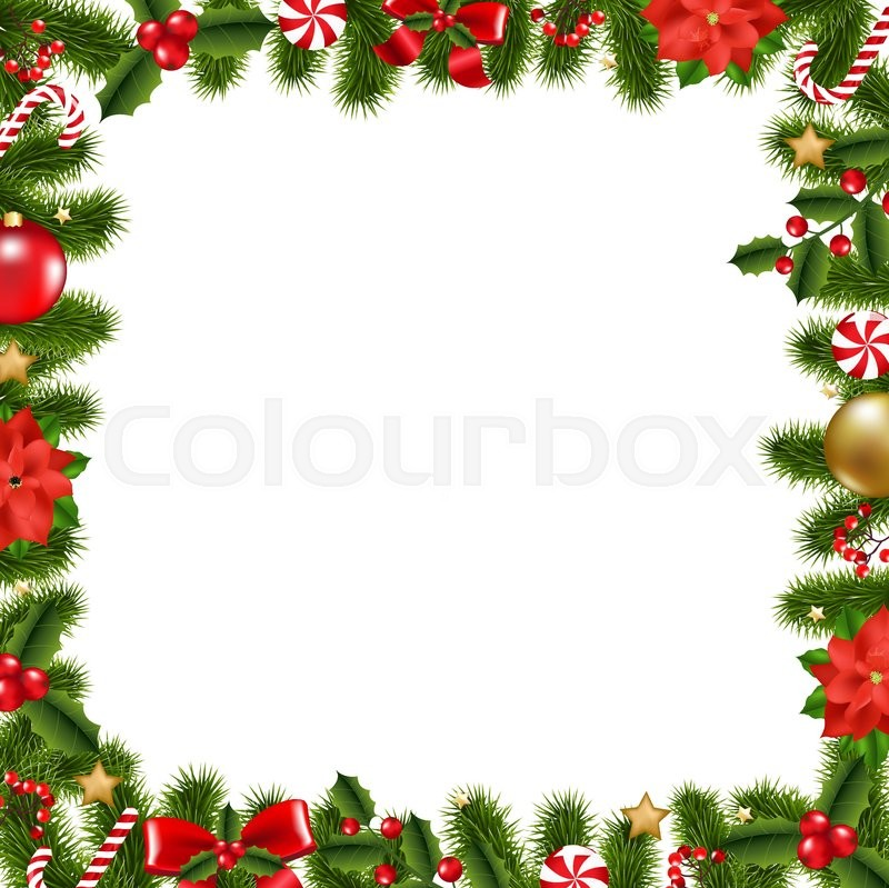 Xmas Frame With Gradient Mesh, Vector Illustration | Stock Vector ...