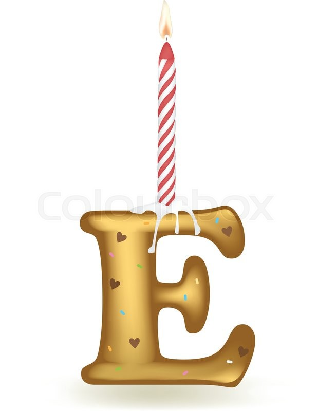 Letter E Happy Birthday Candle Cake
