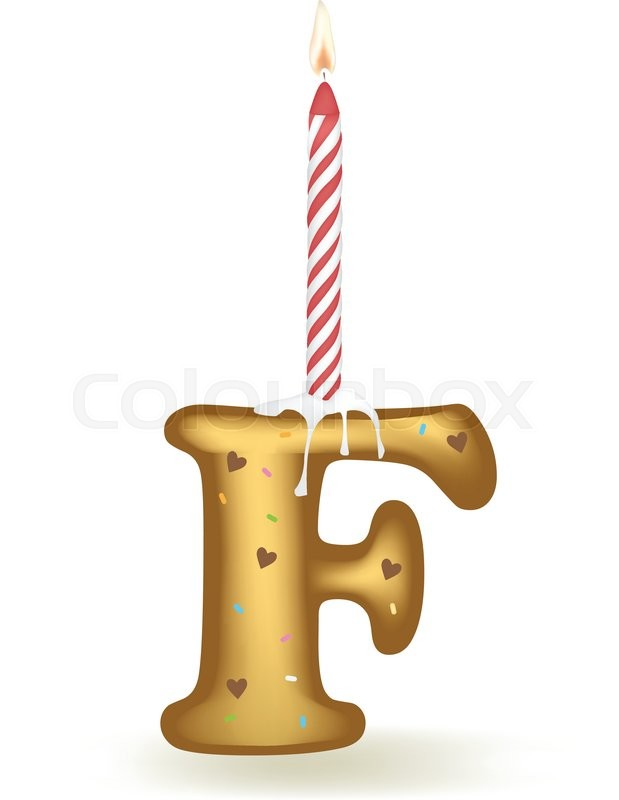 Letter F Happy Birthday Candle Cake