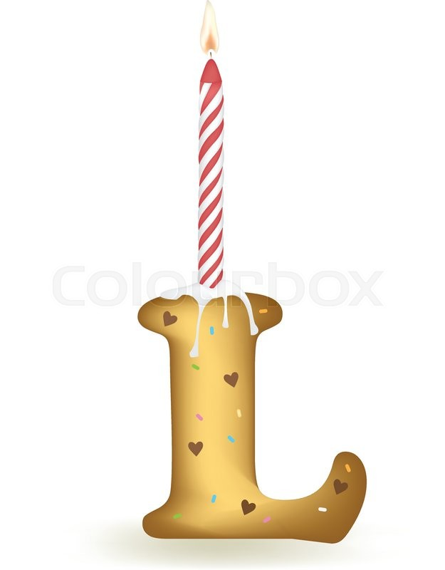 Letter L Happy Birthday Candle Cake