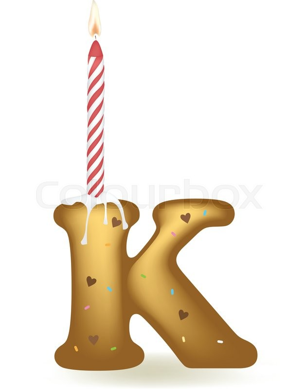 Letter K Happy Birthday Candle Cake