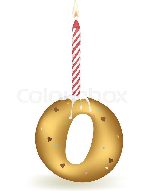 Letter O Happy Birthday Candle Cake