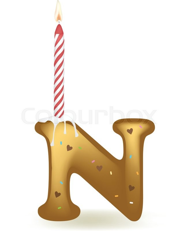 letter n happy birthday candle cake stock vector colourbox