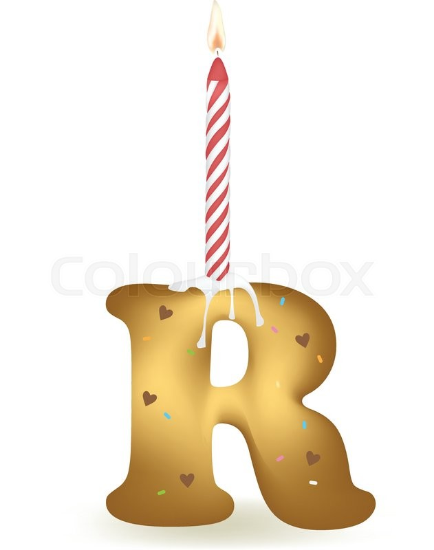 Letter R Happy Birthday Candle Cake