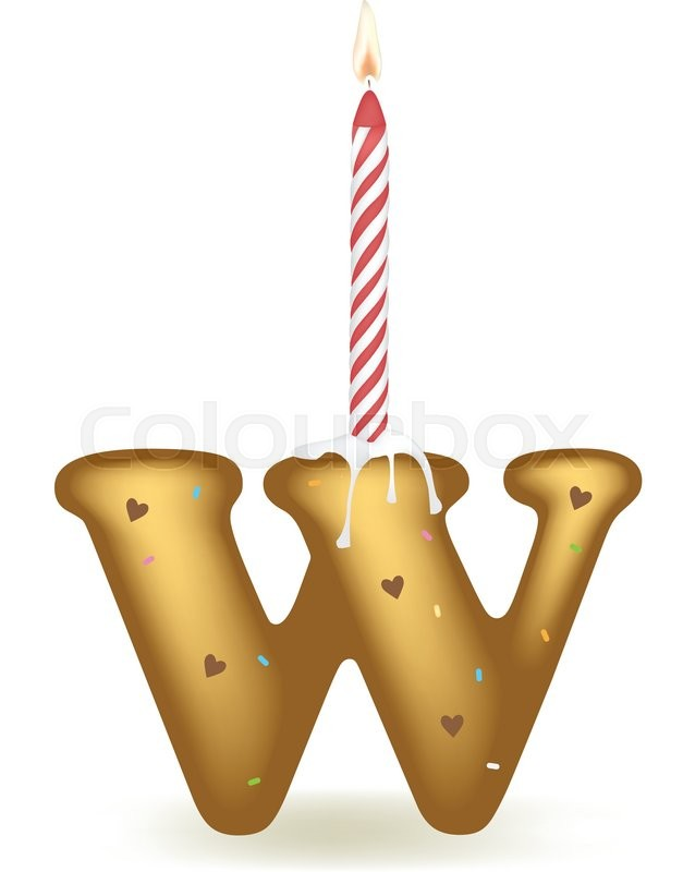Letter W Happy Birthday Candle Cake Vector