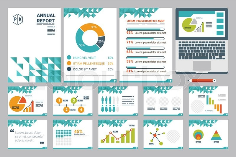 illustration of annual report cover a4 sheet and presentation, Report Presentation Template, Powerpoint templates
