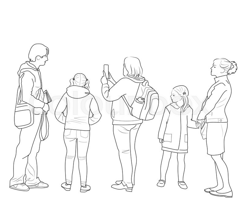 Line Art Group : Sketch of the group people looking into same