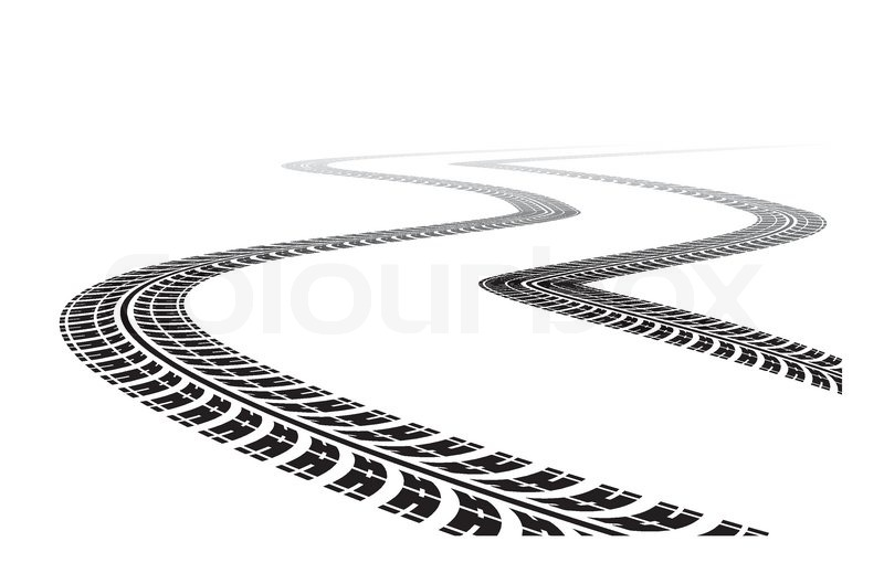 tire tracks in perspective view  vector illustration