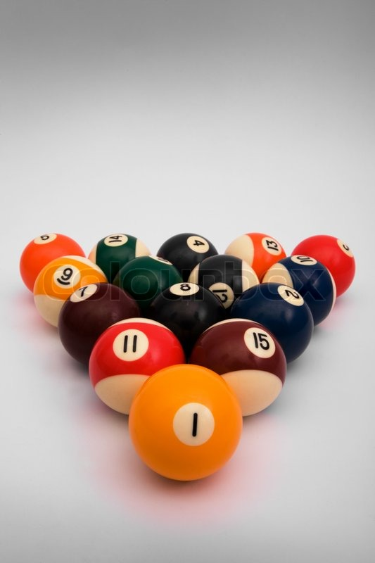 Spheres For Game In Billiards Costing In The Form Of A Triangle | Stock  Photo | Colourbox