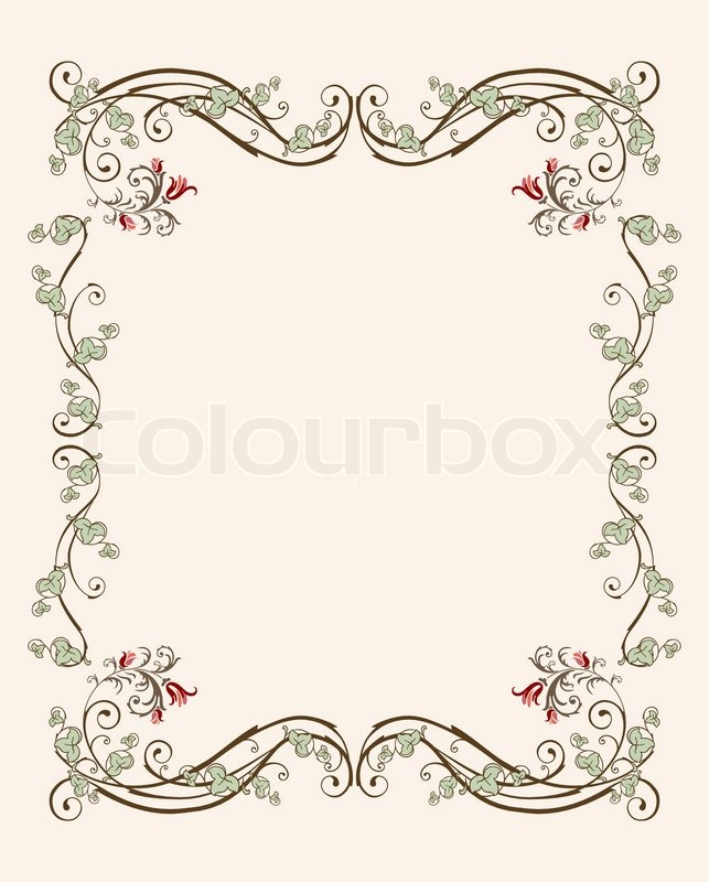 Vintage florale rahmen mit tulpen vektorgrafik colourbox - Vintage bilder kostenlos ...
