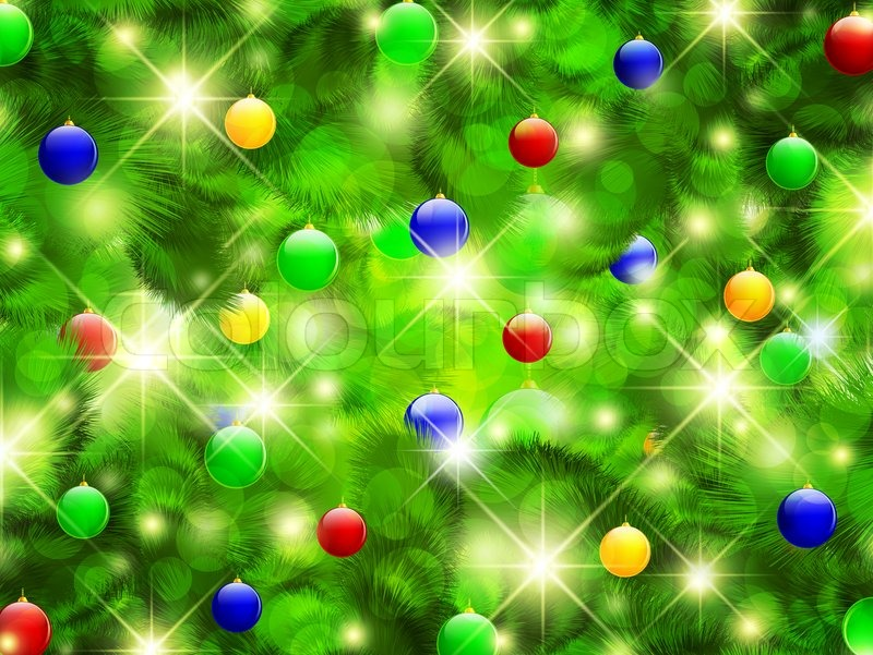 christmas and new year background with pine tree and balls stock photo colourbox