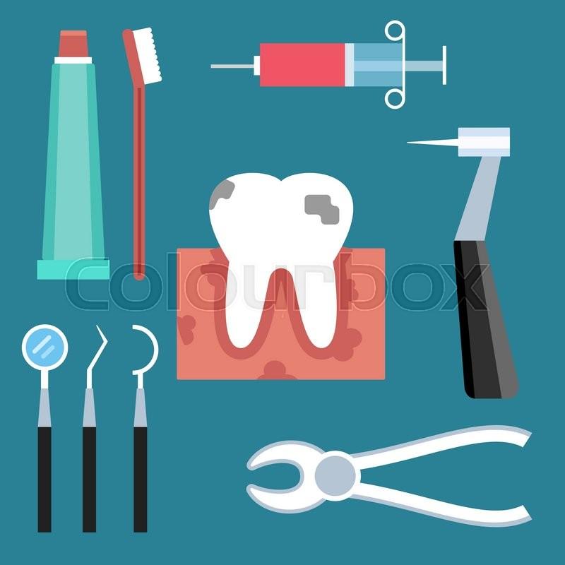 Dentist Doctor Tools Illustration Dentist Patient Girl